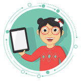 Vector Illustration Of A Girl With A Tablet. 