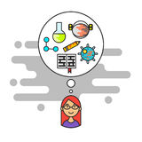 Vector illustration of girl with think bubble and science icons Royalty Free Stock Photos