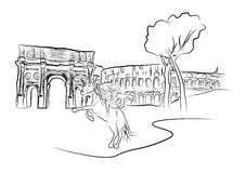 Vector illustration. Girl on unicorn in Rome. Constantines arch and The Colosseum in Rome. Black and white vector illustration can be used for coloring. Vector Stock Photography