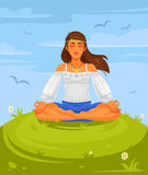 Vector illustration of a girl yoga in the lotus position Royalty Free Stock Image