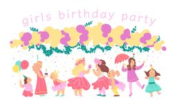 Vector illustration of girls birthday party happy characters celebrating with bd garland, decor elements isolated on white backgro royalty free illustration