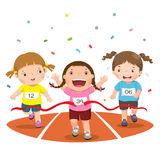 Vector illustration of girls on a race track on a white background Stock Photos