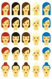 Vector illustration of girls with various hair styles Royalty Free Stock Image