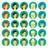 Vector illustration of girls with various hair styles. Set of  illustrations of beautiful young girls with various hair style. Flat design Royalty Free Stock Images
