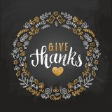 Vector illustration with Give Thanks lettering in leaves frame. Invitation or festive greeting card template. Vector illustration with Give Thanks lettering in Royalty Free Stock Image