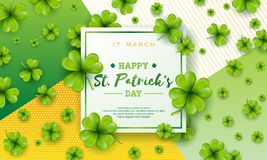Vector Illustration glücklichen Heiliges Patricks-Tages mit grünem fallendem Klee auf abstraktem Hintergrund Irisches Bier-Festiv stock abbildung