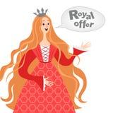 Vector Illustration glücklicher Karikaturprinzessin mit einer Spracheblase Königliche Angebotikone Lizenzfreies Stockbild