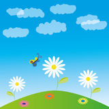 Vector illustration, glade, flowers and butterfly. Vector illustration, glade, clouds, flowers and butterfly Stock Photography