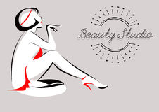 Vector Illustration of Glamorous Girl. Beauty Studio. Spa, hair Stock Photography