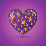 Vector Illustration - Glass Heart With Stars Royalty Free Stock Photography