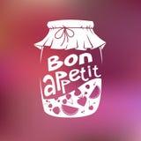Vector illustration of glass jar fruit jam and Bon appetit Royalty Free Stock Photo