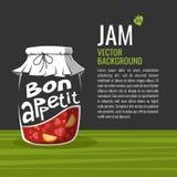 VVector illustration of glass jar fruit jam and Bon appetit Royalty Free Stock Photos