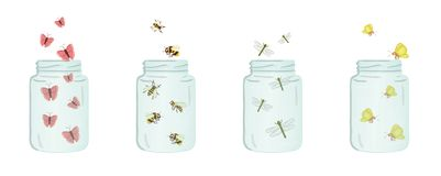 Vector illustration of glass jars with insects inside. Cute summer illustration. Save the moment. Moth, butterfly, bumblebee, ladybug, dragonfly picture stock illustration