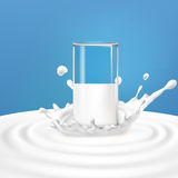 Vector illustration of a glass with milk standing in the center of a dairy splash. A great advertising poster in a realistic style for natural high-quality Royalty Free Stock Image