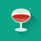 Vector illustration of glass of red wine. On green background. Flat design style with long shadow Stock Images