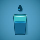Vector illustration of glass with water and drop Stock Image