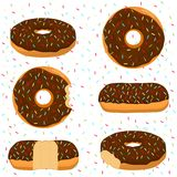Vector illustration for glazed sweet donut. Abstract vector icon illustration logo for glazed sweet donut. Donut pattern consisting of heap of different colored Royalty Free Stock Photography