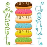 Vector illustration for glazed sweet donut. Abstract vector icon illustration logo for glazed sweet donut. Donut pattern consisting of heap of different colored Stock Images