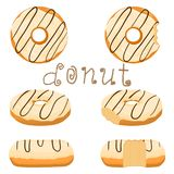 Vector illustration for glazed sweet donut. Abstract vector icon illustration logo for glazed sweet donut. Donut pattern consisting of heap of different colored Royalty Free Stock Photos