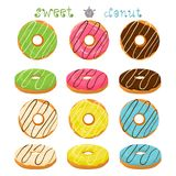 Vector illustration for glazed sweet donut. Abstract vector icon illustration logo for glazed sweet donut. Donut pattern consisting of heap of different colored