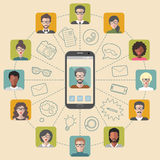 Vector illustration of global communication and social network with different people flat app icons. Stock Photo