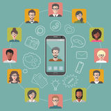 Vector illustration of global communication and social network with different people flat app icons. Stock Image