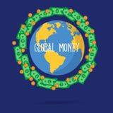 Vector illustration of global money transfer concept. vector illustration
