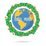 Vector illustration of global money transfer concept. Send money online background. International currency signs flying around a world globe Royalty Free Stock Photography