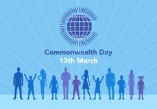Commonwealth Day illustration. Vector illustration of the globe with people around it on white background with lettering. The illustration concerns the Royalty Free Illustration