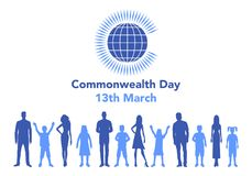 Commonwealth Day illustration. Vector illustration of the globe with people around it on white background with lettering. The illustration concerns the Stock Illustration