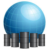 Globe surrounded by oil barrels Stock Images