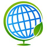 Globe tree with leaf logo royalty free illustration