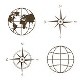 Vector illustration of globe, wind rose, compass. Stock Photography