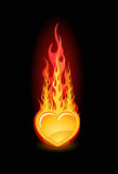 Vector illustration of a glossy heart in fire Royalty Free Stock Image