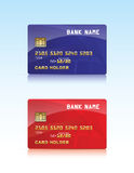 Vector illustration of glossy and red credit card Royalty Free Stock Images