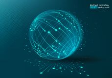 Web Technology and Internet. Blue background. Abstract planet. Futuristic background with dots and lines. Vector illustration. stock illustration