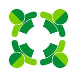 Go green team work four people logo. Vector illustration of go green team work logo - four people on white background Stock Image