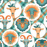 Vector illustration of goat and sheep, symbol of 2015.Seamless p Royalty Free Stock Image