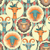 Vector illustration of goat and sheep, symbol of 2015.Seamless p Stock Images