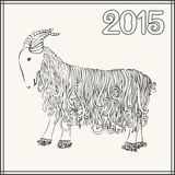 Vector illustration of goat, symbol of 2015 on the Chinese calendar Stock Images