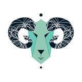 Vector illustration of goat, symbol. Element for New Year design. Goat flat design. Can be used as logo. Greeting card Royalty Free Stock Photo