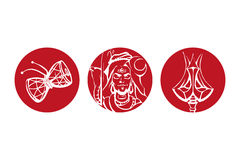Vector Illustration of God Shiva, Trishul and Damaru of God Shiva isolate over red. Logotypes Royalty Free Stock Photo