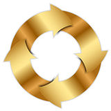 Gold arrows circle Stock Image