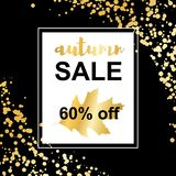 Gold autumn sale card on confetti background stock illustration
