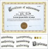 Vector illustration of gold certificate. Template. Stock Photo