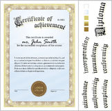 Vector illustration of gold certificate. Template. Royalty Free Stock Images