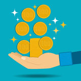 Vector illustration. Gold coins fall into the hand. Passive income. Royalty Free Stock Images