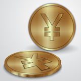 Vector illustration of gold coins with Japanese Royalty Free Stock Photography