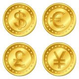 Vector illustration of gold coins with 4 major currencies. Dollar, Euro, Pound sterling, Yuan or Yen. Editable. And suitable for casino game. EPS10 Royalty Free Stock Photos