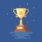 Vector illustration of Gold Cup winner trophy. First place. Trend modern flat pseudo volume style. Celebration. Confetti is flying Royalty Free Stock Photography